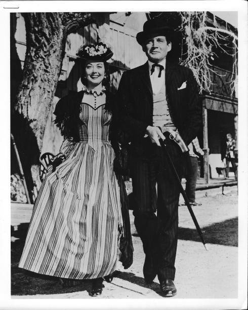 "Gene Barry as ""Bat Masterson"" (with Adele Mara)"