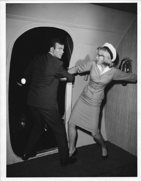 "William Shatner (with Asa Maynor) in the Twilight Zone episode, ""Nightmare at 20,000 Feet"""