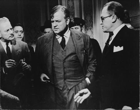 Orson Welles (center) as a lawyer based on Clarence Darrow in COMPULSION (1959)