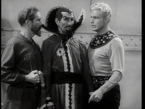 Frank Shannon (as Dr. Zarkov), Charles Middleton (as Ming the Merciless), Buster Crabbe as Flash Gordon in FLASH GORDON'S TRIP TO MARS (1938)