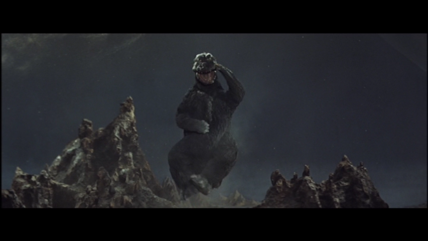 Godzilla does his infamous victory jig, a low point for Godzilla purists