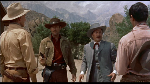 Randolph Scott, Richard Boone, John Hubbard, Henry Silva in THE TALL T