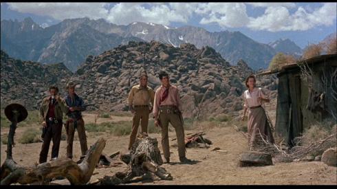 Boone, Homeier, Scott, Silva, Maureen O'Sullivan in THE TALL T